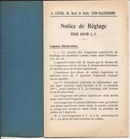 AVIATION 14/18 RARE NOTICE DE REGLAGE POUR AVION L-I. BIPLAN BI-MOTEUR LETORD VILLEURBANNE 1917 - Aviation
