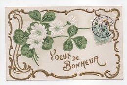 - CPA FLEURS / RELIEF - Voeux De Bonheur - - Flores