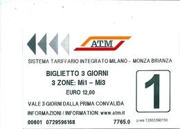 Biglietto  Usato   -  A T M   MILANO  -  Anno  2020 - Metro