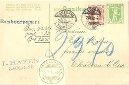 "NN PK 35  ""Hafen, Lausanne"" - Château D'Oex            1908 - Stamped Stationery"
