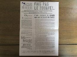 Tract : Fais Pas Le Zouave ! Fédération Anarchiste - Antimilitarisme - 1971 - Documents Historiques