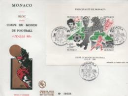FDC MONACO    COUPE DU MONDE DE FOOTBLL  ITALIA 60   N° YVERT  ET TELLIER   BLOC   50   1990 - FDC