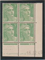 N°809 Bloc De 4 Coin Daté ** - 1945-54 Marianne De Gandon
