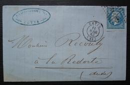 Cette 1860 Lapessonnie & Fils  Timbre N°14, Pour La Redorte (Aude) - Storia Postale