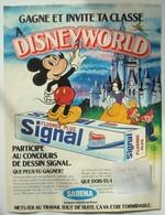 Publicité Dentifrice SIGNAL Disney Mickey Blanche-Neige Sabena. - Spirou 1980. - Publicités