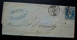 Cette 1863 Pinède , Pour La Redorte (Aude) - Storia Postale