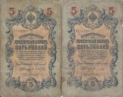 RUSSIE 5 RUBLES 1909 VG+ ( 2 Billets ) - Russie