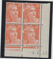 N°722 Bloc De 4 Coin Daté ** - 1945-54 Marianne (Gandon)