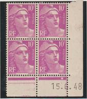N°811 Bloc De 4 Coin Daté ** - 1945-54 Marianne De Gandon