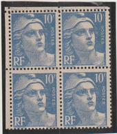 N°723 Bloc De 4 Variété F Effacé Paire Supérieure - 1945-54 Marianna Di Gandon