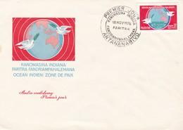 RANOMASINA INDIANA: FARITRA FANDRIAMPAHALEMANA OCEAN INDIEN: ZONE DE PAIX. MALAGASY ANTANANARIVO 1976 FDC -LILHU - Madagascar (1960-...)
