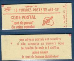 """FR Carnet YT 1816-C4 """" 10 BEQUET 80c. Rouge GT Sans Phosphore """" Fermé Conf4 Numéroté - Usage Courant"""