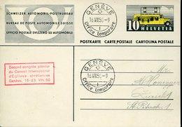 52222 Switzerland, Special Postmark Geneve, Office Temporaire,  Second Congres Conseil Intern. Eglises Chretiennes 1950 - Suisse