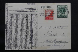 ALLEMAGNE - Entier Postal De Propagnde + Complément De  Hamburg Pour Paris En 1938  - L 56026 - Ganzsachen