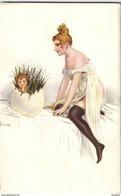 """CARTE POSTALE - Illustration S.SOLOMKO - """" Neuf Mois Apres. ./enfant Dans. Oeuf / CPA  TBE  / LOT B43 - Patriotiques"""