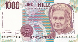 ITALIA BANCONOTA DA LIRE 1000  MONTESSORI  SERIE KG 027157 N   FDS - [ 2] 1946-… : Repubblica