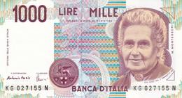ITALIA BANCONOTA DA LIRE 1000  MONTESSORI  SERIE KG 027155 N   FDS - [ 2] 1946-… : Repubblica