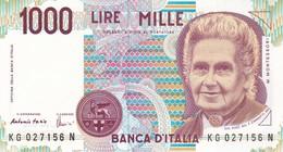 ITALIA BANCONOTA DA LIRE 1000  MONTESSORI  SERIE KG 027156 N   FDS - [ 2] 1946-… : Repubblica