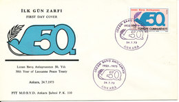 Turkey FDC 24-7-1973 Lausanne Peace Treaty With Cachet - FDC