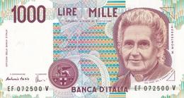 ITALIA BANCONOTA DA LIRE 1000  MONTESSORI  SERIE EF 072500 V   FDS - [ 2] 1946-… : Repubblica