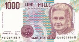 ITALIA BANCONOTA DA LIRE 1000  MONTESSORI  SERIE KG 027158 N   FDS - [ 2] 1946-… : Repubblica