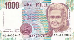 ITALIA BANCONOTA DA LIRE 1000  MONTESSORI  SERIE ND 483690 E   FDS - [ 2] 1946-… : Repubblica