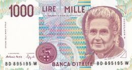 ITALIA BANCONOTA DA LIRE 1000  MONTESSORI  SERIE BD 895195 W   FDS - [ 2] 1946-… : Repubblica