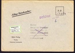 """1959 Eilige Drucksache Aus Vaduz Nach Göttingen. Mit Label """"abgereist Ohne Adresse""""....-retour - Liechtenstein"""
