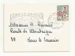 COQ DECARIS  SUR  MINI ENVELOPPE  7.4 X 10 Cm + FLAMME LONS LE SAUNIER - 1962-65 Coq De Decaris