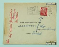 """Brief 1958 Freiburg I. Breisgau --> Koesching, Fr. 20 Pf, Zurück, Streifen """"amtlich Geöffet . . """" - BRD"""