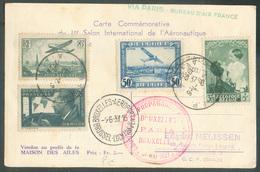 CV (1er Salon Aéronautique) Avecaffr. Mixte BELGIQUE FRANCE PA Sc BRUXELLES AEROPORT Du 1-6-1937 + Sc Rouge COURRIER DE - Luchtpost