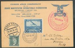 Carte Courrier Aérien Commémoratif Affr; Mixte Belgique Tchécoslovaquie Dc Rouge GRANDE FETE AERONAUTIQUE BELGICA 5-7-19 - Luchtpost