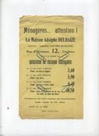 ENGHIEN : La Maison Adolhe DELHAIZE   --  Ménagères  (  Regarder Scan Pour Detail )  22.5  X 14  Cm - Old Paper