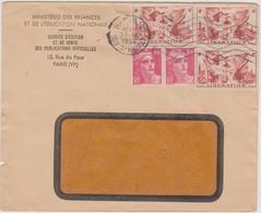 FRANCE 1952 Enveloppe Ministère Educ. Nationale Multiples Affranchissements N°YT 739 Et 712 Cachet 22.IX 1952 PARIS - 1921-1960: Modern Period