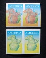 1989 URUGUAY MNH 2 PAIR Double- COLOUR PROOF EPREUVE- IMPERFORATE América UPAE Cerámica Ceramics Poterie Pot Yvert 1285 - Uruguay