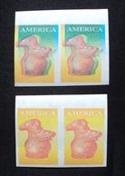 1989 URUGUAY MNH 2 PAIR Double- COLOUR PROOF EPREUVE IMPERFORATE- América UPAE Cerámica Ceramics Poterie Pot Yvert 1286 - Uruguay