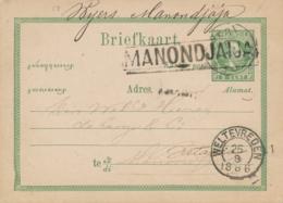 Nederlands Indië - 1886 - 5 Cent Willem III, Briefkaart G6 Van L MANONDJAIJA Via Garoet Naar Weltevreden - Niederländisch-Indien
