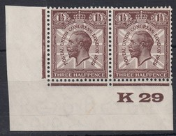 GB 1929 PUC 1.5d K29 Control Pair Mint            0217 - Unused Stamps