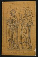POTLOOD TEKENING VAN ZILVERSMID BOURDON GENT UIT PRESENTATIEBOEK  ST PAUL & ST FRANCISCUS  12 X 7  CM - Devotieprenten