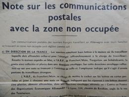 TRACT PROPAGANDE NOTE SUR LES COMMUNICATIONS POSTALES AVEC LA ZONE NON OCCUPÉE - Documentos Históricos