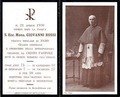LUTTINO: Mons. GIOVANNI ROSSI Vescovo Titolare Di Nebo E Primicerio Della Metropolitana - M. Il 21 Aprile 1930 - Religione & Esoterismo