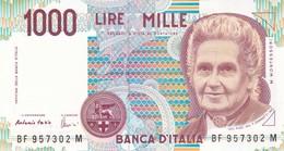 ITALIA BANCONOTA DA LIRE 1000  MONTESSORI  SERIE  BF 957302 M  FDS - [ 2] 1946-… : Repubblica