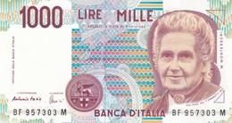 ITALIA BANCONOTA DA LIRE 1000  MONTESSORI  SERIE  BF 957303 M  FDS - [ 2] 1946-… : Repubblica
