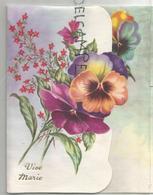 Vive Marie. Bouquet De Pensées Et Fleurs Rouges. - Autres