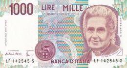 ITALIA BANCONOTA DA LIRE 1000  MONTESSORI  SERIE  LF 142545 S  FDS - [ 2] 1946-… : Repubblica