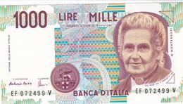 ITALIA BANCONOTA DA LIRE 1000  MONTESSORI  SERIE  EF 072499 V  FDS - [ 2] 1946-… : Repubblica