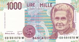 ITALIA BANCONOTA DA LIRE 1000  MONTESSORI  SERIE ED 591570 W   FDS - [ 2] 1946-… : Repubblica