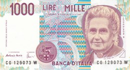 ITALIA BANCONOTA DA LIRE 1000  MONTESSORI  SERIE CG 129073 W   FDS - [ 2] 1946-… : Repubblica