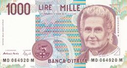 ITALIA BANCONOTA DA LIRE 1000  MONTESSORI  SERIE MD 064920 M   FDS - [ 2] 1946-… : Repubblica