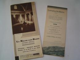 2 X DEPLIANT TOURISME 1937 : STATION THERMALE LAMALOU LES BAINS / HERAULT - Dépliants Touristiques